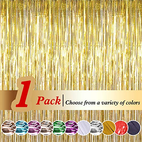 Ariceleo Tinsel Foil Curtains (3ft X 8ft) Metallic Fringe Curtains Shimmer Backdrop Curtain for Birthday Wedding Party Christmas Decorations (Gold,1 Pack)]()