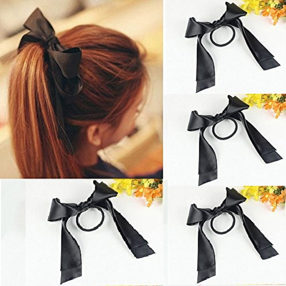 Fashion Women Black Rope Ribbon Bow Knot Elastic Hairband Ponytail Scrunchie Holder (Black)