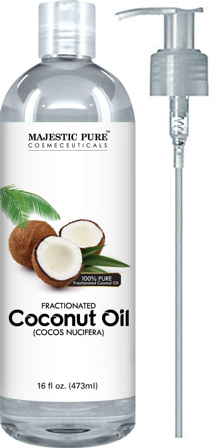 Majestic Pure Fractionated Coconut Oil, For Aromatherapy Relaxing Massage, Carrier Oil for Diluting Essential Oils, Hair & Skin Care Benefits, Moisturizer & Softener - 16 Ounces by Majestic Pure