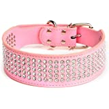 """Beirui Rhinestones Dog Collars - 2"""" Width with 5 Rows Full Sparkly Crystal Diamonds Studded PU Leather - 2 Inch Wide…"""