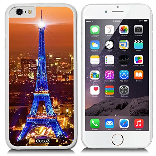New Apple iPhone 6 s 4.7-inch CocoZ® Case Classic Paris Eiffel Tower Beautiful Night view PC Material Case (White PC & Eiffel Tower 4)