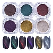 NICOLE DIARY 6Colors 3D Cat Eye Magnet Nail Powder Magic Magnetic Glitter Dust UV Gel Manicure Nail Art Pigment With Magnet