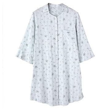 Pijama GAODUZI Señoras del Verano Algodón Simple Cardigan Siete Puntos Falda de la Manga Ropa Interior