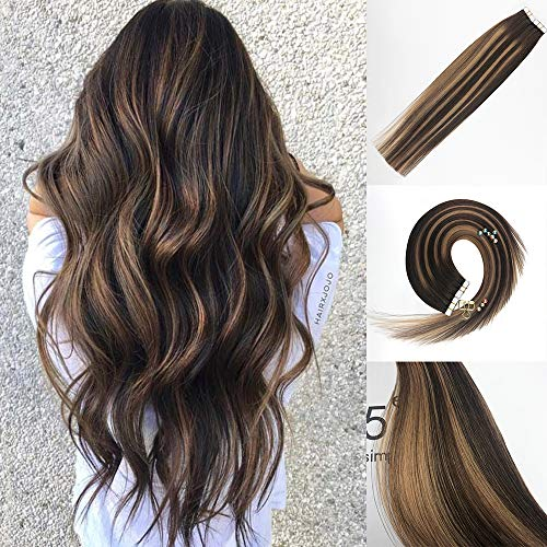 Vowinlle 20inch Remy Tape in Hair Extensions Human Hair Balayage Color #4 Dark Brown Ombre to #27 Ash Blonde Highlighted with #4 Brown Unprocessed Human Hair Extensions Seamless Tape in Hair 20pcs/40g ()