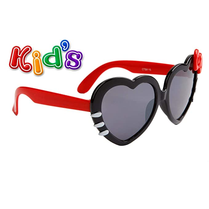 Amazon.com: Gafas de sol con forma de corazón para niños con ...