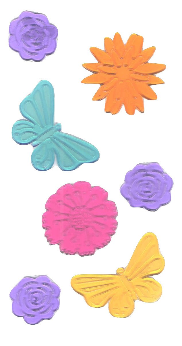 Spring or Summer Reusable Gel Window Clings ~ Colorful Butterflies and Flower Heads (7 Clings, 1 Sheet)