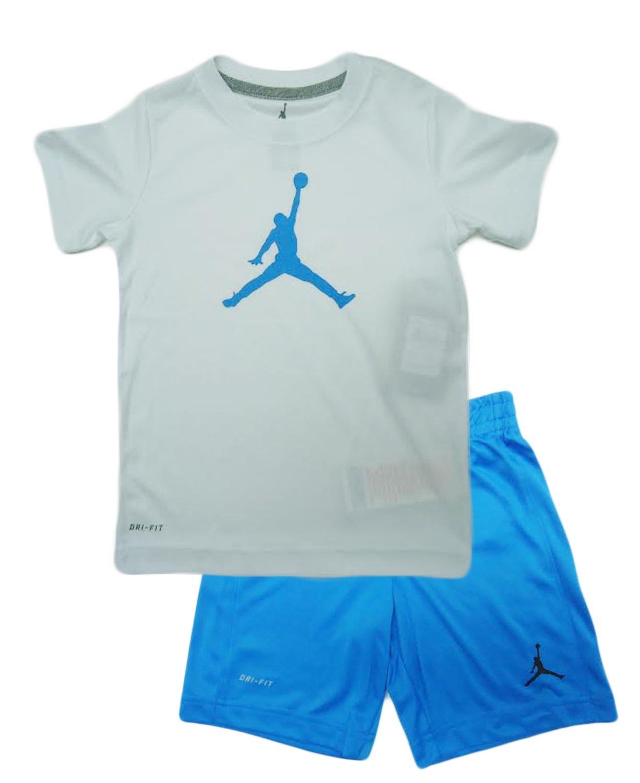 Kids Air Jordan Jumpman 2 Piece Toddler Boys Outfit Set (4T, LT PHOTO BLUE)