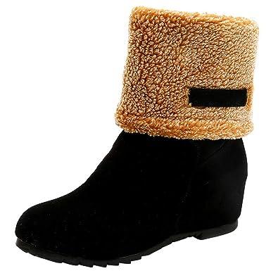 b56f40817bba3e OSYARD Bottes Neige pour Femme Plat Moto Bottes avec Doublure Chaude Mode  Chaussures Hiver(Noir