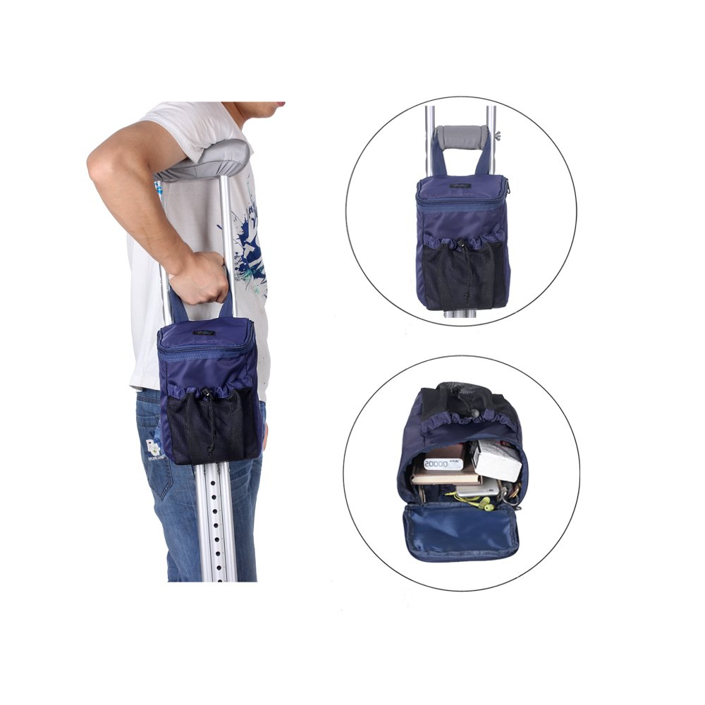 Crutches Bag, Pouch, Pocket, Caddy Medical Crutch Accessory Storage Carryon Pouch Tote Washable & Ergonomic Lightweight (Navy Blue)