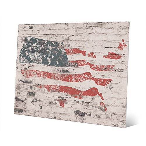 Freedom Wall - Distressed American Flag on Brick Wall