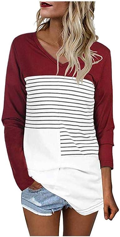 VJGOAL Mujer Casual Cuello en V Raya Patchwork Camiseta de ...