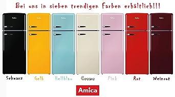 Amica Kühlschrank Mit Gefrierfach Retro : Amica retro kühl gefrierkombination rot kgc 15630 r a 213 liter