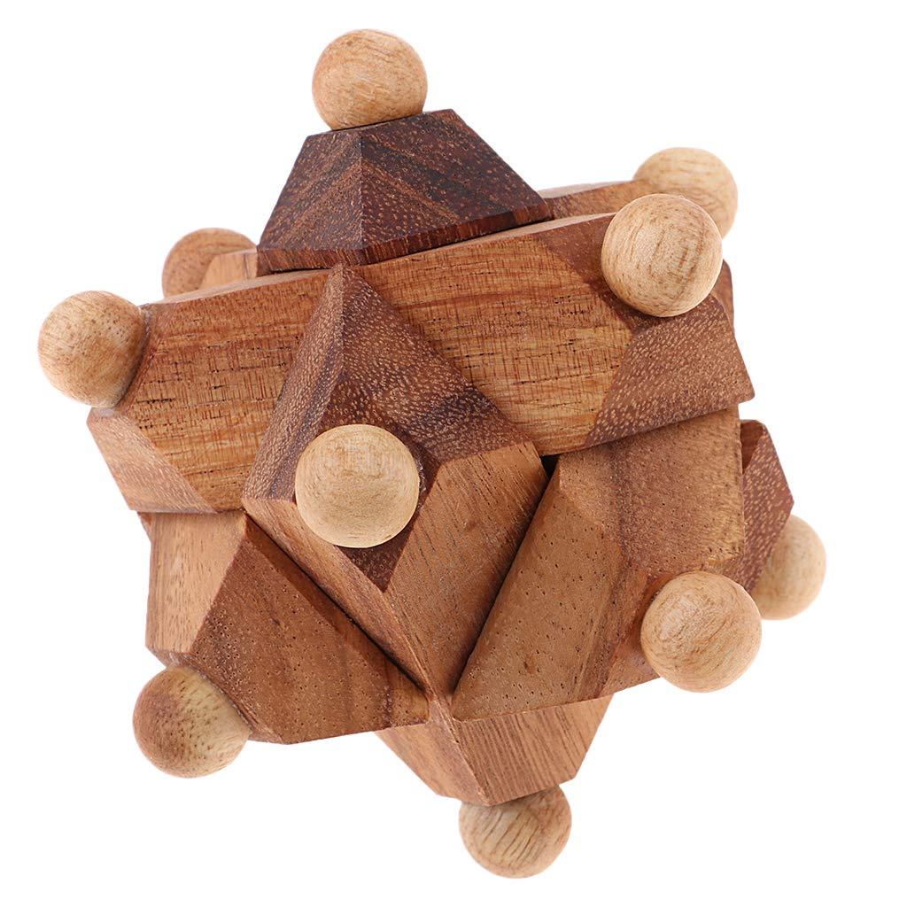 Baoblaze Classic IQ 3D Wood Mind Brain Teaser Interlocking Burr Puzzle for Adults #1