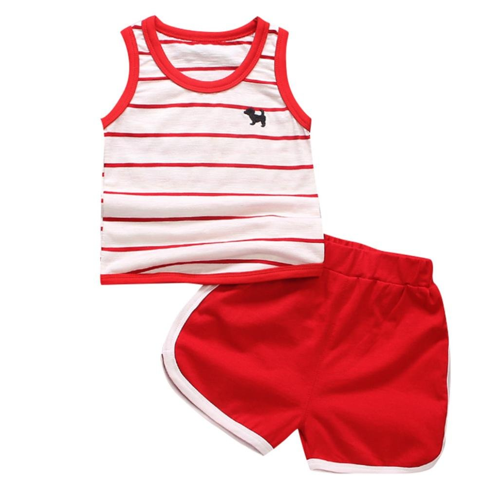 OSYARD 2Pcs Toddler Baby Girls Boys Striped Dog Vest Tops T Shirt and Shorts Outfits Set
