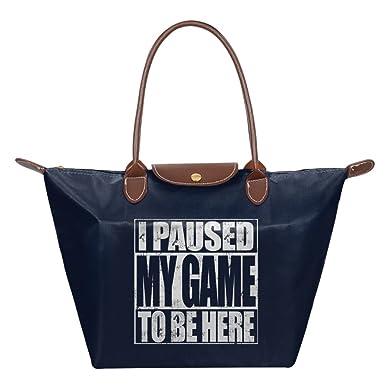 cfb13d0c5a4b Amazon.com  I Paused My Game To Be Here7 Ladies Large Tote Bags ...