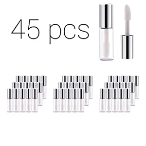Case of 45 packs, Empty Plastic Clear Lip Gloss Tubes Lip Balm Bottle Container Silver Transparent 1.2ML Makeup Tool for Women (45 pcs, Silver)