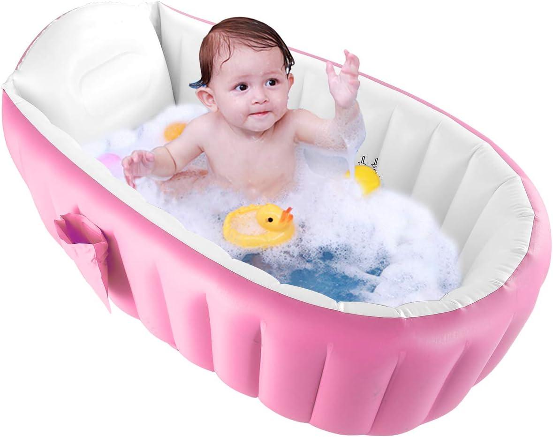 DaMohony - Bañera hinchable para bebé recién nacido, plegable, antideslizante, para bebés de 0 a 3 años rosa rosa