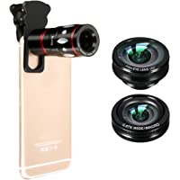 M. Way - Lentes para teléfono 3 en 1, juego de lentes para cámara universal con objetivos 10 x teleobjetivo Micro Fisheye (ojo de pez) Supreme 180° gran angular