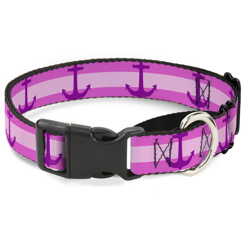 Buckle-Down Anchor Stripe Pinks Purple Martingale Dog Collar, 1  Wide-Fits 9-15  Neck-Small