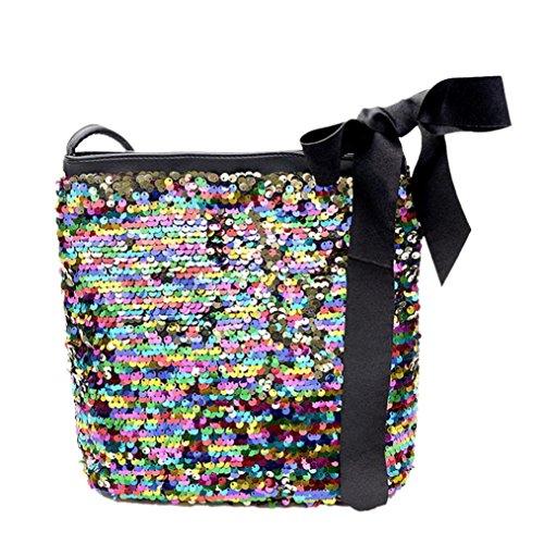 Yuxing Girls Fashion Colorful Sequins Crossbody Shoulder Bag (Multicolor) (Bag Hobo Tote Sequin)