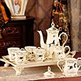 DHG European Ceramic Coffee Set English Afternoon Tea Red Tea Cup with Tray Upscale Wedding Gift,A
