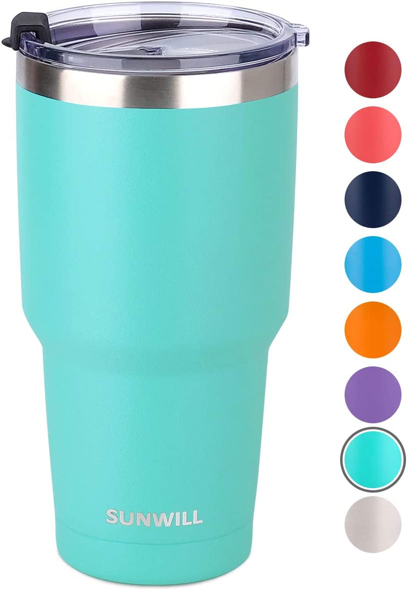 SUNWILL 30oz Tumbler with Lid, Stainless Steel Vacuum Insulated Double Wall Travel Tumbler, Durable Insulated Coffee Mug, Powder Coated Teal, Thermal Cup with Spill Proof Lid