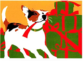 jack russell opens christmas presents puppy dog boxed holiday cards - Dog Holiday Cards