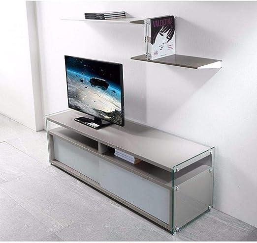 PEZZANI - Mueble para TV TALAC Gris Mate con 2 Puertas correderas, Color Blanco Mate: Amazon.es: Hogar