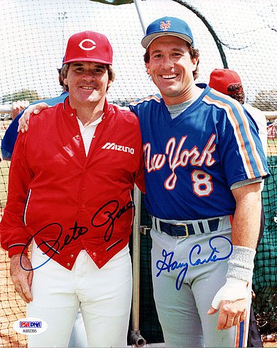 Gary Carter & Pete Rose Signed 8x10 Photograph - Certified Genuine Autograph By PSA/DNA - Autographed Photo