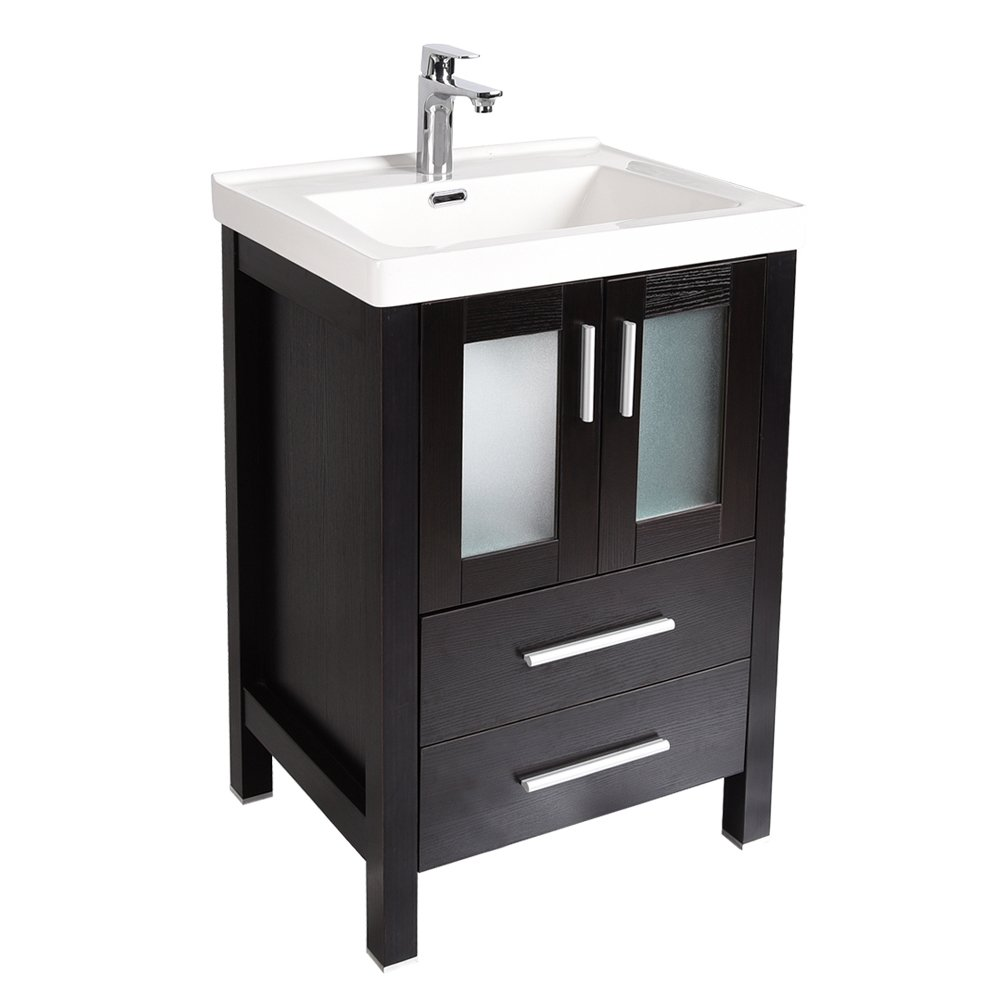 24-Inch Bathroom Vanity, Modern Stand Pedestal Cabinet, with Rectangle Ceramic Undermount Vessel Vanity Sink, Wood Black Fixture