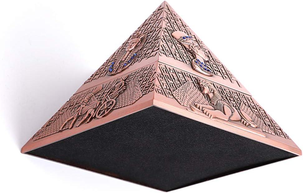 modello piramidale da tavolo decorazione per casa e ufficio Bronzo rosso. Posacenere vintage antivento con coperchi per uso esterno e interno BSTKEY portacenere per sigarette e sigari