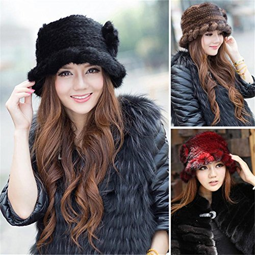 SPRINGWIND Real Mink Fur Hat Knitted Womens Winter Cap by SPRINGWIND (Image #4)