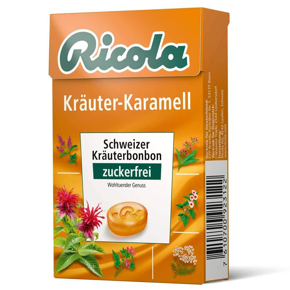 Ricola Herbal Caramel Sugar Free Box 50g (Pack of 10)