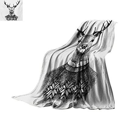 9fb12f3b6bbb67 Indie Throw Blanket Hand Drawn Deer Portrait in a Nordic Style Knitted  Sweater Hipster Christmas Custom