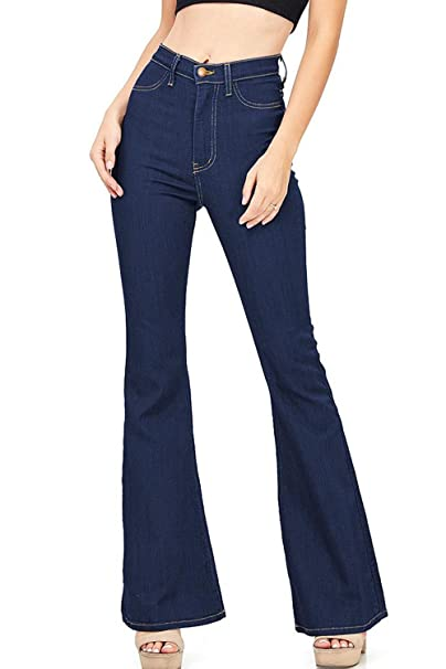 4147ce175d664 Amazon.com  Geckatte Womens Juniors Bell Bottom Jeans High Waist Retro Wide  Leg Denim Flared Pants  Clothing