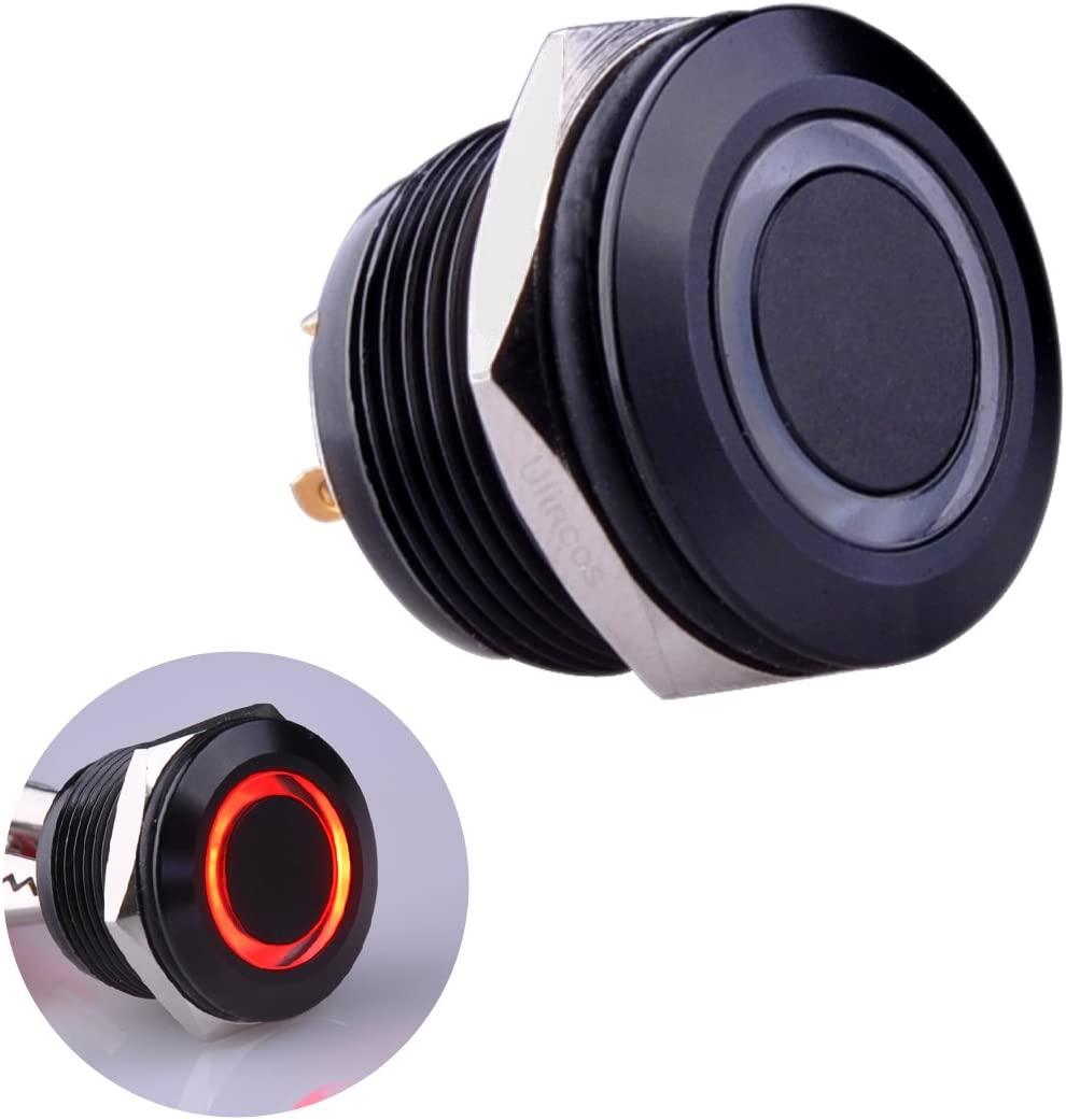 Red Ulincos Momentary Push Button Switch U19D1 1NO SPST Black Metal Shell with Red LED Ring Suitable for 19mm 3//4 Mounting Hole Pack with a Resistor