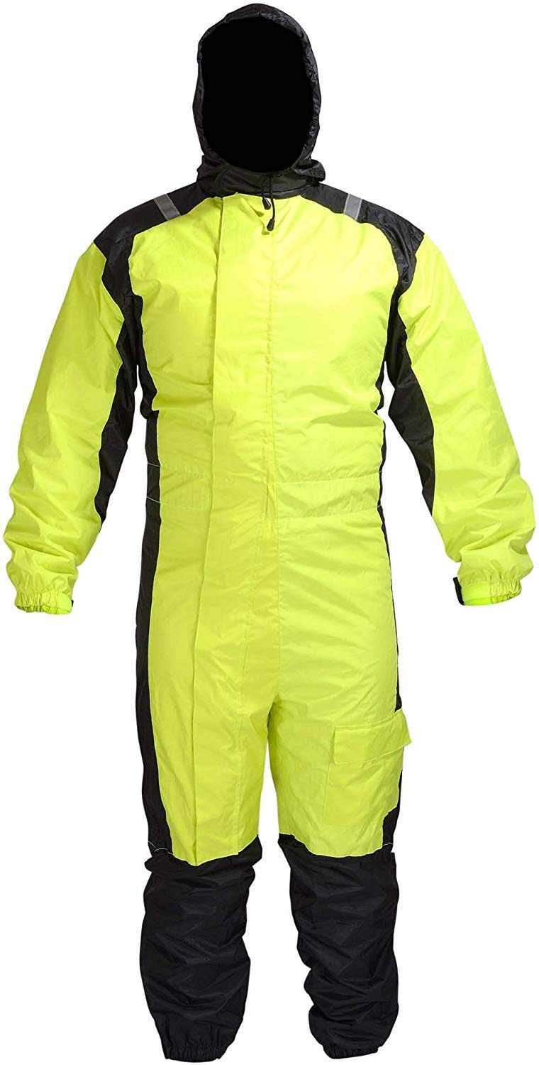 MOTORCYCLE BIKER ONE PEICE RAIN SUIT YELLOW BLACK RN1-1 (3XL) by WICKED STOCK