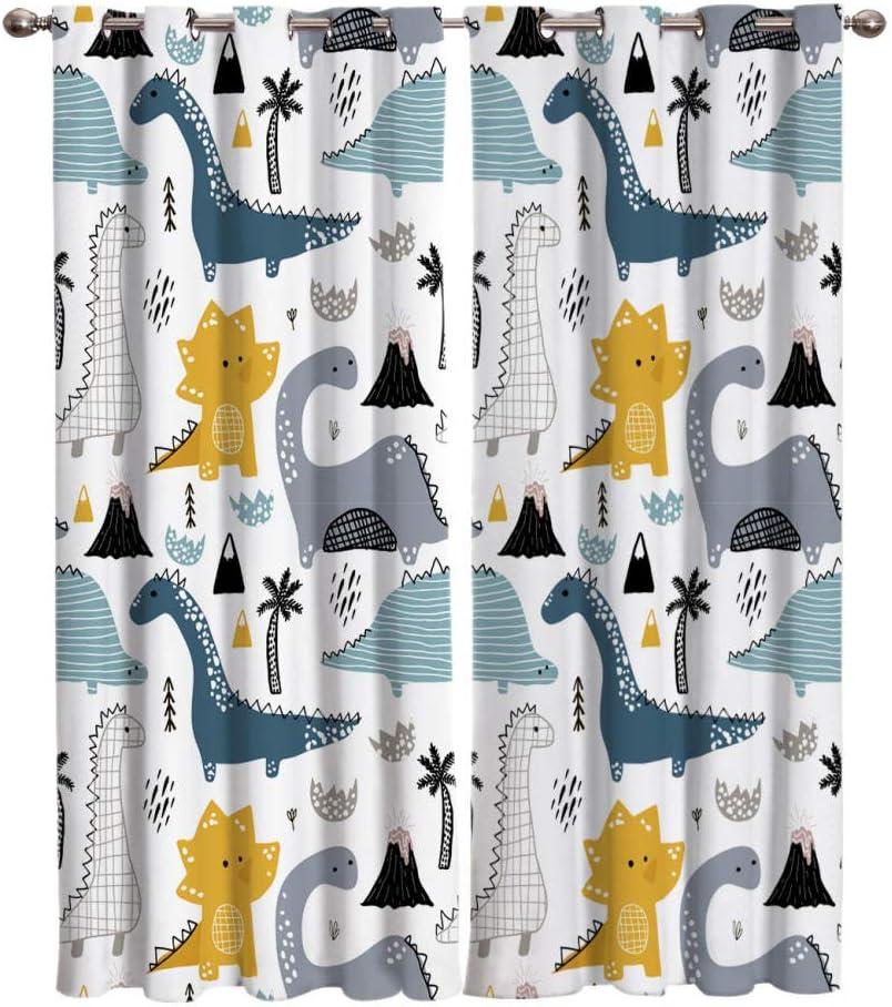 zpangg Gardinen Kinderzimmer Netter Cartoon-Dinosaurier 2Er-Set Vorhang Schal Verdunkelungsvorhang Blickdicht F/ür Wohnzimmer Schlafzimmer 150/×166Cm