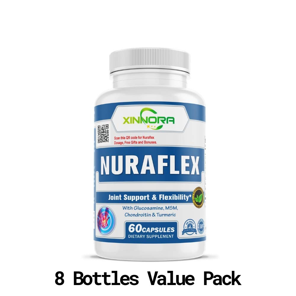 XINNORA Nuraflex - Glucosamine with Chondroitin Turmeric MSM Boswellia - Joint Support & Flexibility Supplement - Anti-Inflammatory & Antioxidant Pills for Your Back, Knees, Hands 60 Caps x 8 BTLs