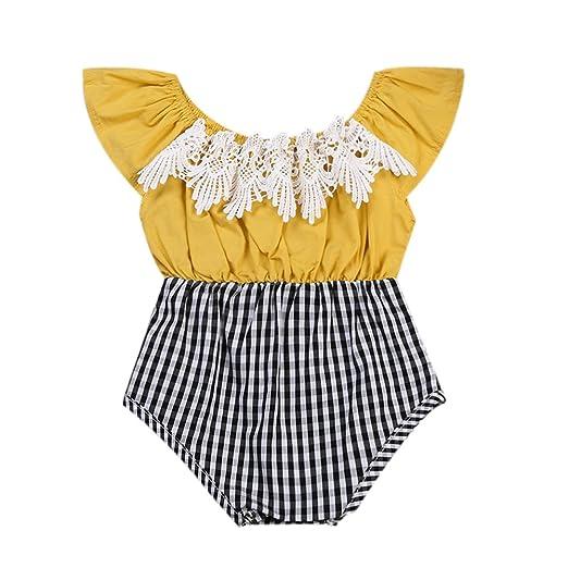 ca317d57b865 Amazon.com  GRNSHTS Baby Girl Romper Ruffle Sleeve Lace Plaid ...
