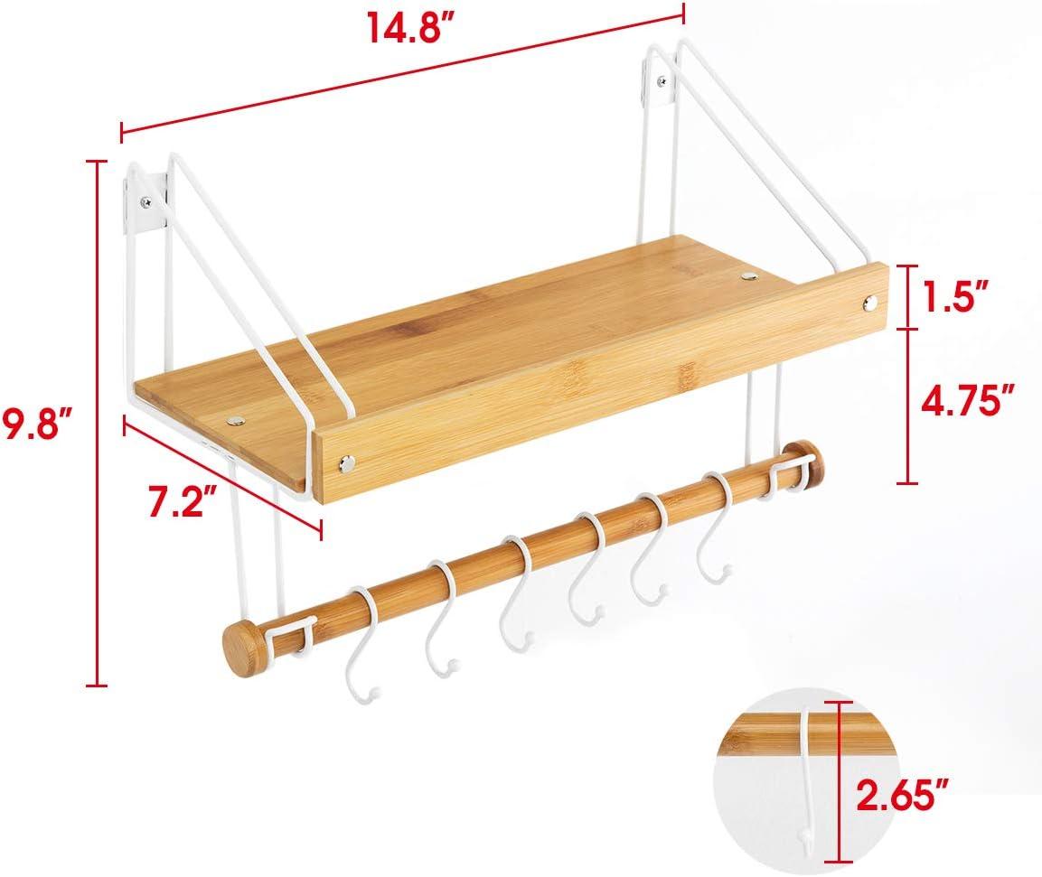 Cucina con 6 Ganci per Tazze Asciugamani Multiuso J JACKCUBE DESIGN Utensili da Cucina MK518AA Set di 2 mensole galleggianti in bamb/ù Bagno Organizer da Parete per Soggiorno