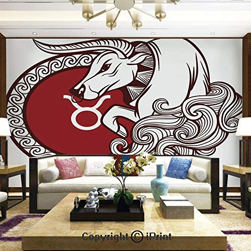 Lionpapa_mural Removable Wall Mural | Self-Adhesive Large Wallpaper,Astrology Calendar Bull Classic Animal Figure Person Symbolic Design Decorative,Home Decor - 66x96 - Calendar Shamrocks