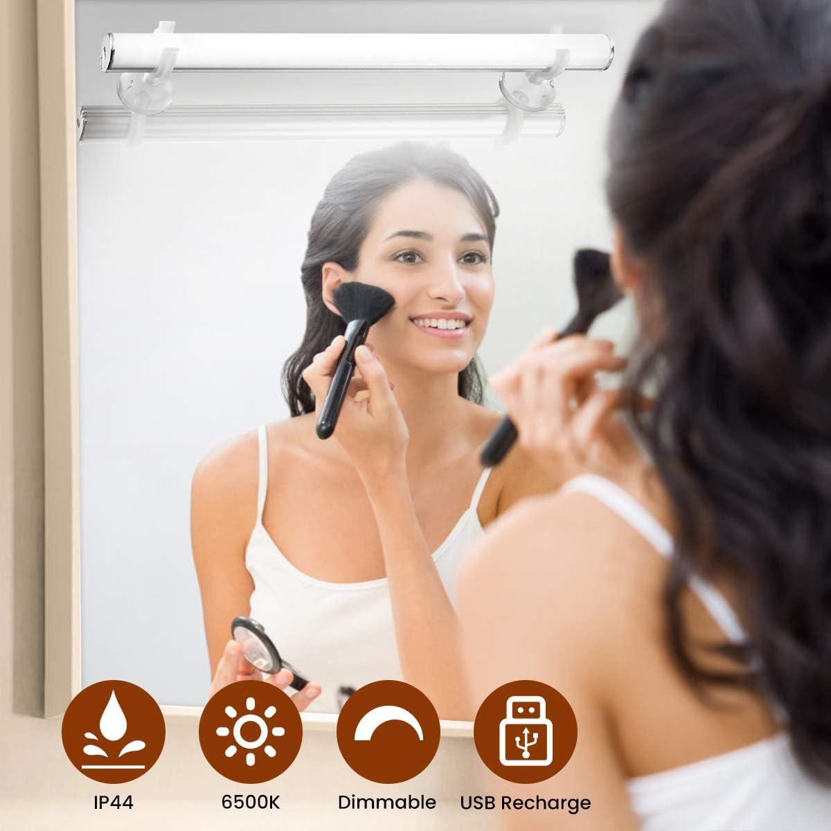 Elfeland Spiegelleuchte Spiegellampe Mirror Light Schminkleuchte Schminklicht 6500K 5W Dimmbar Badlampe Badleuchte Schrankleuchte f/ür Badezimmer Spiegel Schminktisch Beleuchtung USB wiederaufladbar