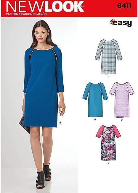 New Look patrones de costura para fácil de coser vestido cambio ...