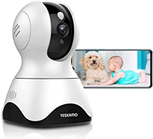 YESKAMO Security Camera Wireless 3 MP Indoor WiFi IP Camera Baby Monitor Pet Camera with 2 Way Audio Cloud Storage Motion Sound Alert Remote Viewing Pan Tilt Zoom Surveillance Kit for Home Shop Office