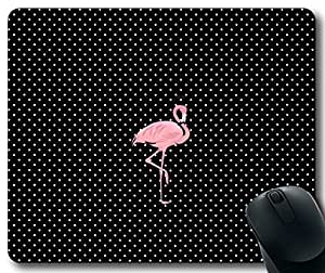 Chic Black & White Polka Dot with Pink Flamingo Mousepad,Custom Rectangular Mouse Pad by mcsharks