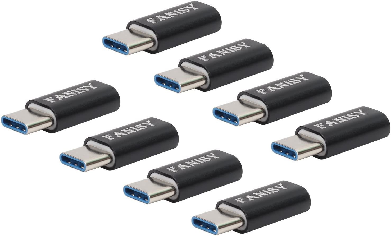FANISY Type C USB-C Adapter 8-Pack, Micro USB to USB C Adapter Compatible for MacBook ChromeBook Pixel Galaxy S10 S9 S8 Plus Note 10 and More Type C Cable - Black (USB C Adapter 8-Pack)
