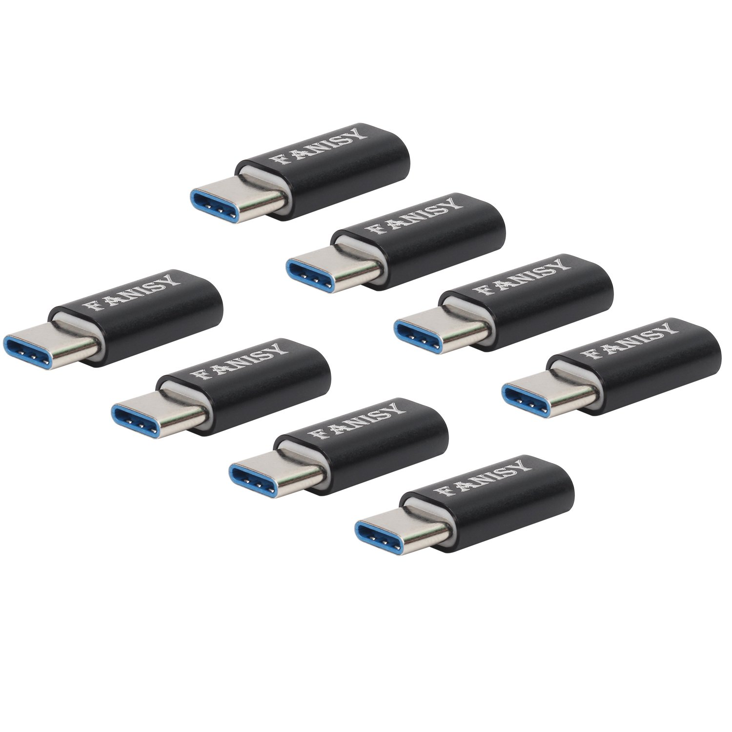 Type C Adapter[Pack of 6], FANISY Micro USB to USB-C Adapter, USB-C to USB-A 3.0 Adapter, Data Sync and Charge for Samsung S8 S8Pluas,MacBook,ChromeBookPixel,Nexus 5X/6P and Other Type C Devices-Black