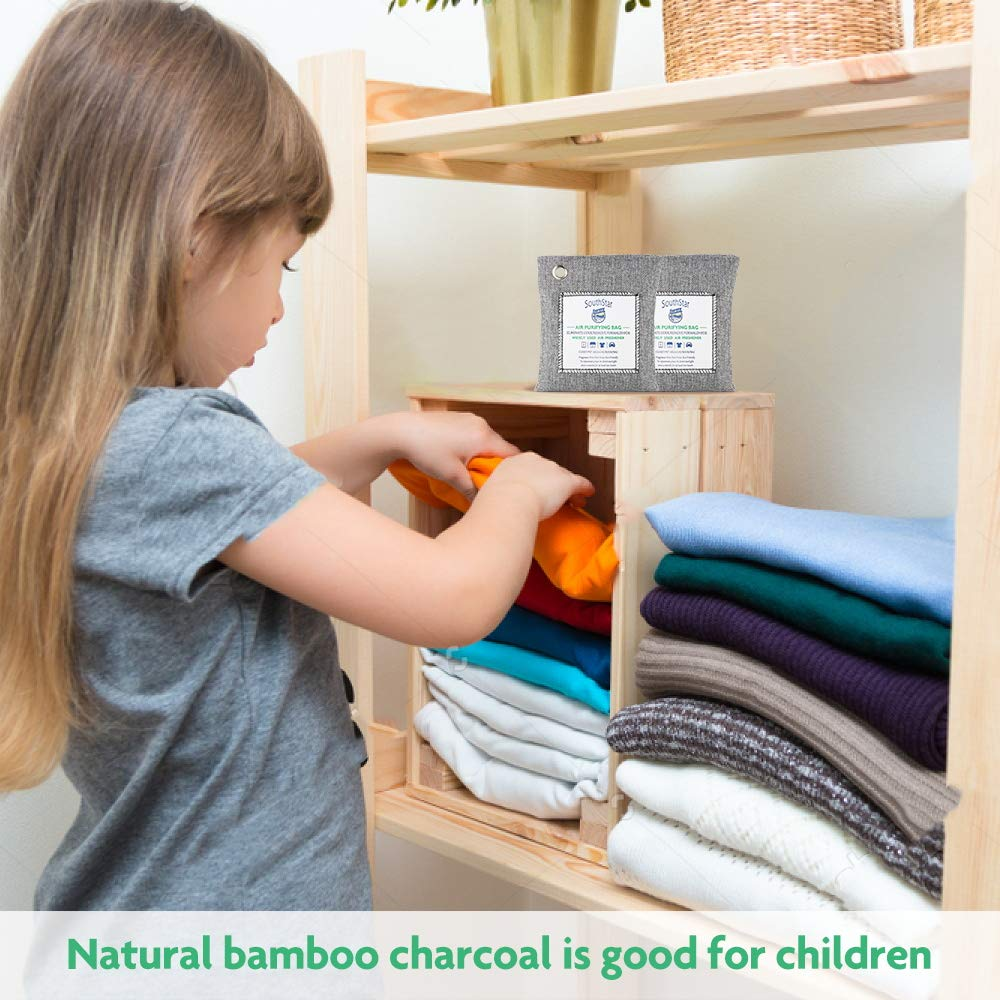 SouthStar Bamboo Charcoal Air Purifying Bag-Nature Fresh Air Purifier BagsCharcoal Bags for Car,Closets,Bathroom and Pet Areas,Car air Fresher 200G 4Pack