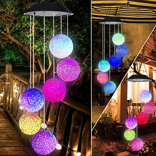 BINWO Solar Wind Chime,Color Changing Outdoor Waterproof LED Crystal Ball Wind Chime Solar Powered Colorful Light for Home/Party/Yard/Festival Decoration/Valentines Gift (Crystal Ball) -